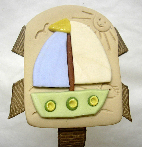 *BOAT* pacifier holder, taupe ribbon