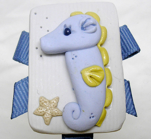 *SEA HORSE* pacifier holder, steel blue ribbon