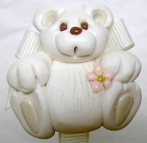 *BEAR* pacifier holder antique white ribbon