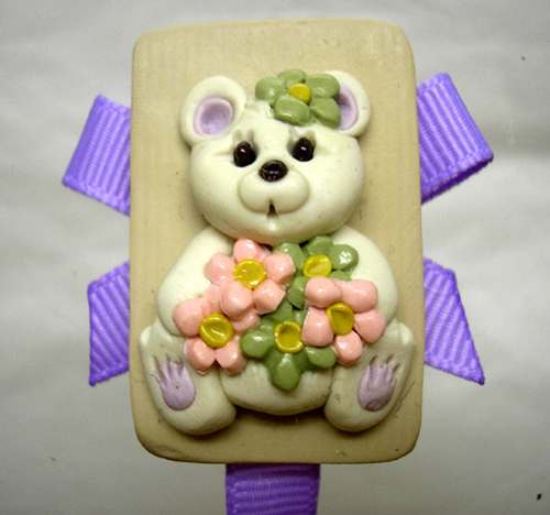 *BEAR* pacifier holder lilac ribbon