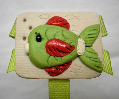 *LIME GREEN FISH* pacifier holder, lime ribbon