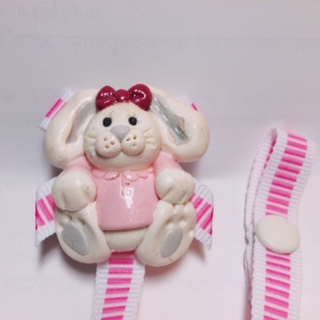 *RABBIT* pacifier holder, striped pink ribbon