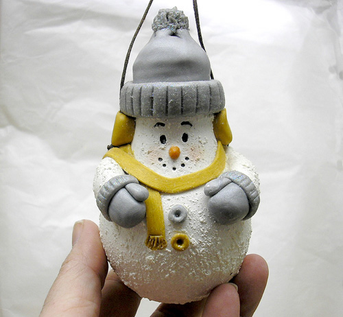 *GRAY& GOLD SNOWMAN* Christmas ornament #4