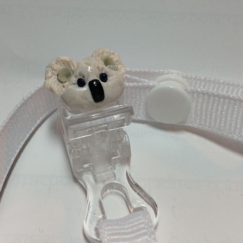 *MINI PANDA* pacifier holder white ribbon