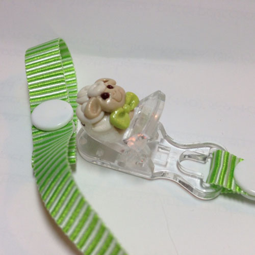 *MINI SHEEP* pacifier holder light green striped ribbon