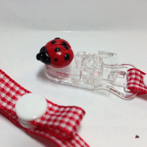 *MINI LADYBUG* pacifier holder red check ribbon